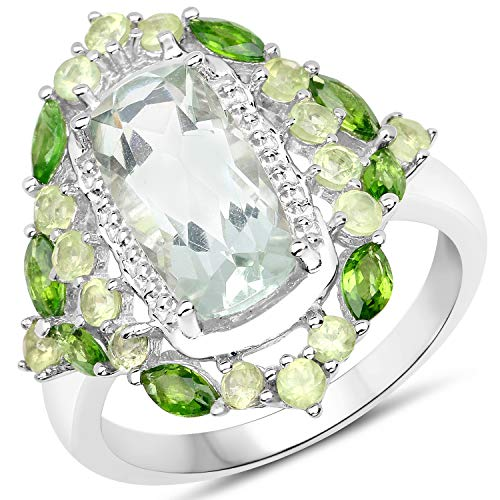 Bonyak Jewelry Genuine Cushion Prasiolite (Green Amethyst), Chrome Diopside and Peridot Ring in Sterling Silver - Size 7.00