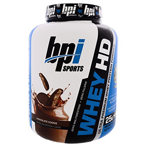 BPI Sports, Whey HD, Ultra Premium Whey Protein Powder, Chocolate Cookie, 4.2 lbs (1,900 g) - 2PC by BPI Sports