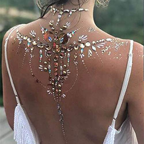 (Zoestar Crystal Body Jewels Breast Gems Festival Rave Stickers for Women and Girls (Yellow))