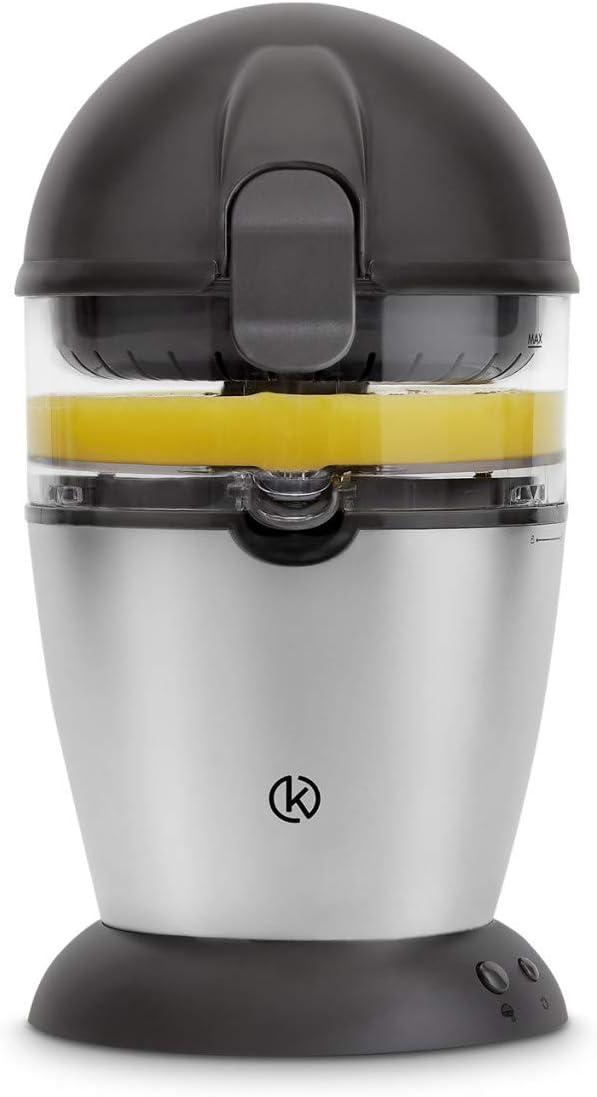 Exprimidor de zumo completamente automatico | Exprimidor Electrico de naranjas, Limones, Cítricos | 400 ml | Acero Inoxidable | + Receta Gratis (PDF)