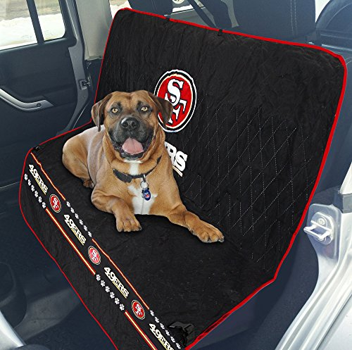 Pets First NFL CAR SEAT Cover - SAN Francisco 49ERS Waterproof, Non-Slip Best Football Licensed PET SEAT Cover for Dogs & Cats.