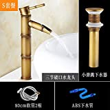 JWLT Faucet Washbasin, Faucet, Splash Head, Bathroom, Toilet, Cold and hot Bath, Antique Basin, Bathroom Counter, Basin,Three Break Small Bounce Without Corner Valve Set Meal