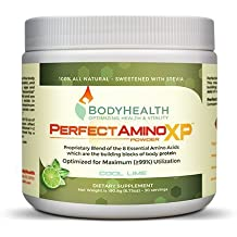 BodyHealth PerfectAmino XP Powder (30 Svgs), BCAA+ Lysine, Phenylalanine, Threonine, Methionine, Tryptophan, 8 Essential Amino Acids Supplement, Muscle Mass Production, and Strengthening, Cool Lime