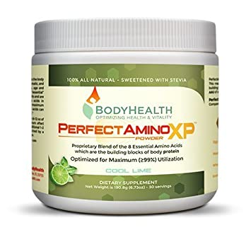 BodyHealth PerfectAmino XP Cool Lime Powder 30 Svgs , BCAA Lysine, Phenylalanine, Threonine, Methionine, Tryptophan, 8 Essential Amino Acids Supplement, Muscle Mass Production, and Strengthening