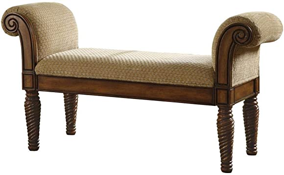 Upholstered Bench with Rolled Arms Brown and Camel