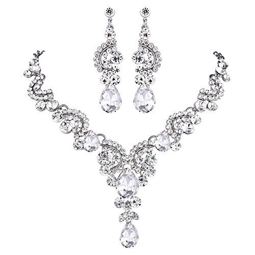 EVER FAITH Rhinestone Crystal Bridal Floral Wave Teardrop Necklace Earrings Set Clear ()