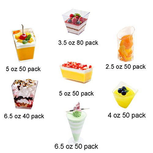 Tosnail 6.5 Oz Capacity Square Clear Plastic Dessert Tumbler Cups - 40 Pack by Tosnail (Image #6)