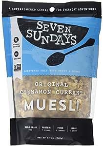 Seven Sundays Muesli -  Original Toasted Cinnamon Currant {12 oz. pouches, 6 Count} - Non-GMO Certified, Gluten Free, Hot or Cold Breakfast Muesli