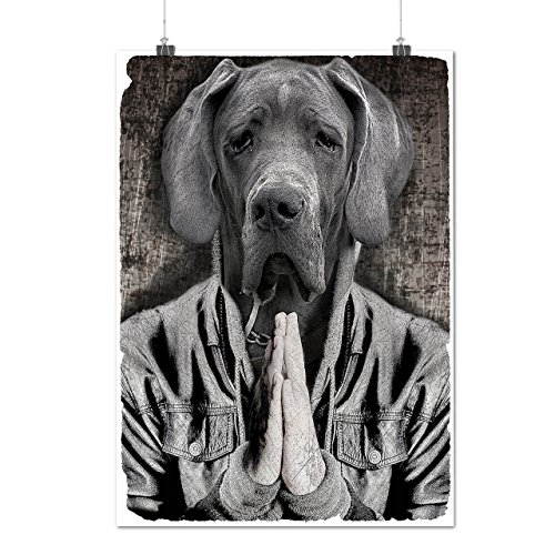 Great Dane Face Cool Dog Pet Sorrow Matte/Glossy Poster A3 (12x17 inches) | Wellcoda (Sit Chubby Face)