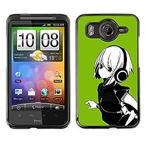 TopCaseStore / la caja del caucho duro de la cubierta de protección de la piel - Green Anime Girl - HTC G10