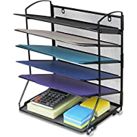 SimpleHouseware 6 Trays Desktop / Wall Mount Document Letter Tray Organizer, Black, (DO-003-1)