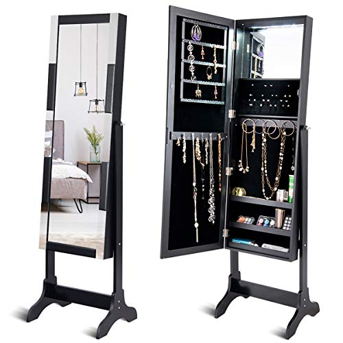 (Giantex 12 LED Jewelry Cabinet Armoire with Mirror, Lockable Mosaic Frame and Full Length Mirrored Large Storage Armoires for Bedroom, Standing Jewelry Cabinets Box w/Makeup Mirror (Black))