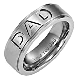 New Willis Judd Mens Titanium DAD Ring Engraved Love You Dad In Velvet Ring Box