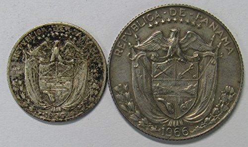 Review PA 1930 & 1966 Lot of 2 Panama 1/10 Un Decimo & 1/4 Un Cuarto de Balboa Coins Fine+/VF