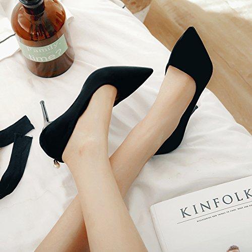 Xue Qiqi Schwarz Satin High Heels mit der Spitze eines einzigen Schuh beige, mit eleganten, professionellen Arbeit Schuhe, 39, Schwarz 9 cm -