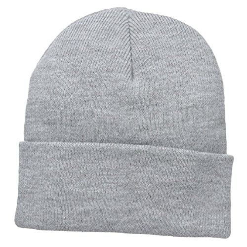 Ash Light Grey Gray Watch Hat Outdoor Durable Acrylic Cuffed Winter Stocking Cap Beanie