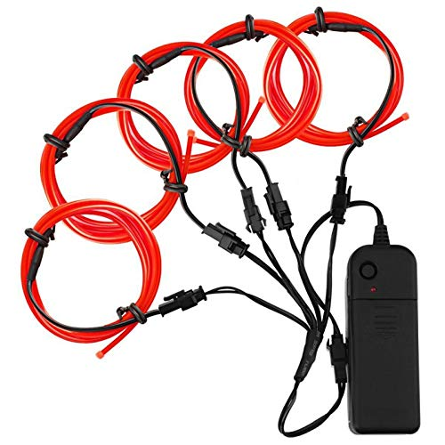 Covvy EL Wire Neon Lights Kit with Portable AA Battery Pack for Burning Man's Day Halloween Christmas Party Decoration 51 Meter Glowing Strobing Flashing Electroluminescent Wire (Red)