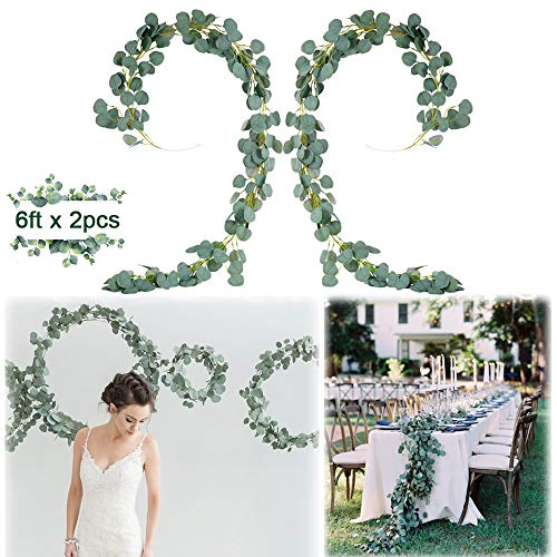 Coodoo 12FT Eucalyptus Garlands Artificial Eucalyptus Vines Leaves DIY Greenery Wedding Decorations Arch Backdrop Table Placement Dcor