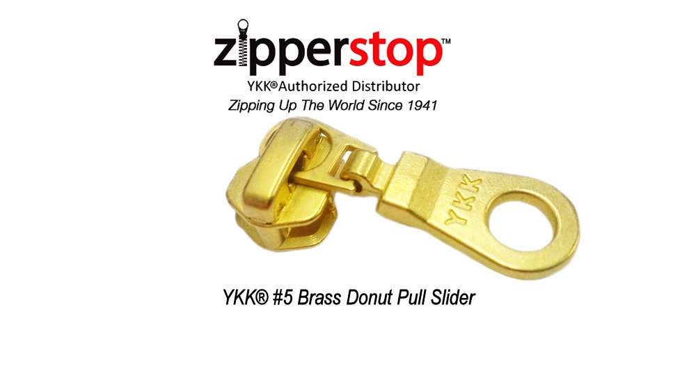 ZipperStop Wholesale - Zipper Repair Kit Solution YKK #5 Zipper Heads - Sliders with Pulls #5 - YKK Brand Donut Style Pulls - 5pcs with Top and Bottom Stoppers (Nickel)