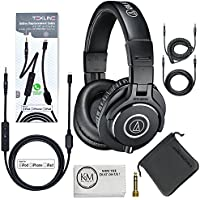 Audio-Technica ATH-M40x Professional Monitor Headphones (Black) + Tekline Active Replacement Cable
