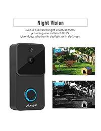 Abegal - Timbre inalámbrico de vídeo 720P Full HD WiFi con timbre, funciona con Alexa, dos vías de audio de visión nocturna PIR detección de movimiento sistema de seguridad en casa timbre