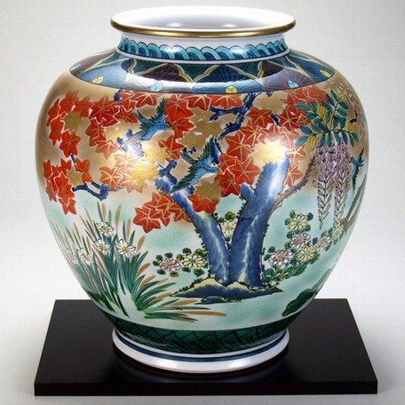 【九谷焼】 【限定品】 12号花瓶 本金四君子 花瓶、花台、木箱入り B019LR5VKG