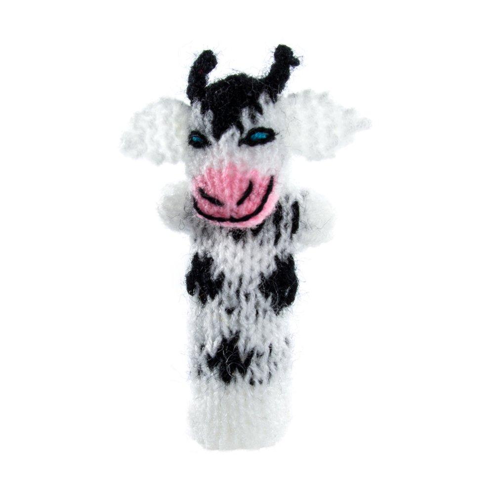 Fingerpuppe Kuh Kasperltheater Spielzeug zum Spielen und Lernen handgestrickt aus weicher Wolle fü r Baby und Kinder Willy' s Manufaktur