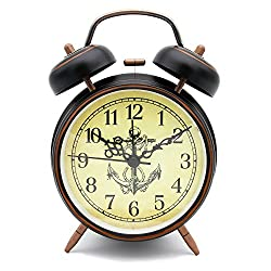 OSMOFUZE Twin-Bell Alarm Clock Classic Old Fashioned Bedside, Anchor on Yellow Background Wake Up Morning Analog Clock with Integrated Lamp for Heavy Sleepers