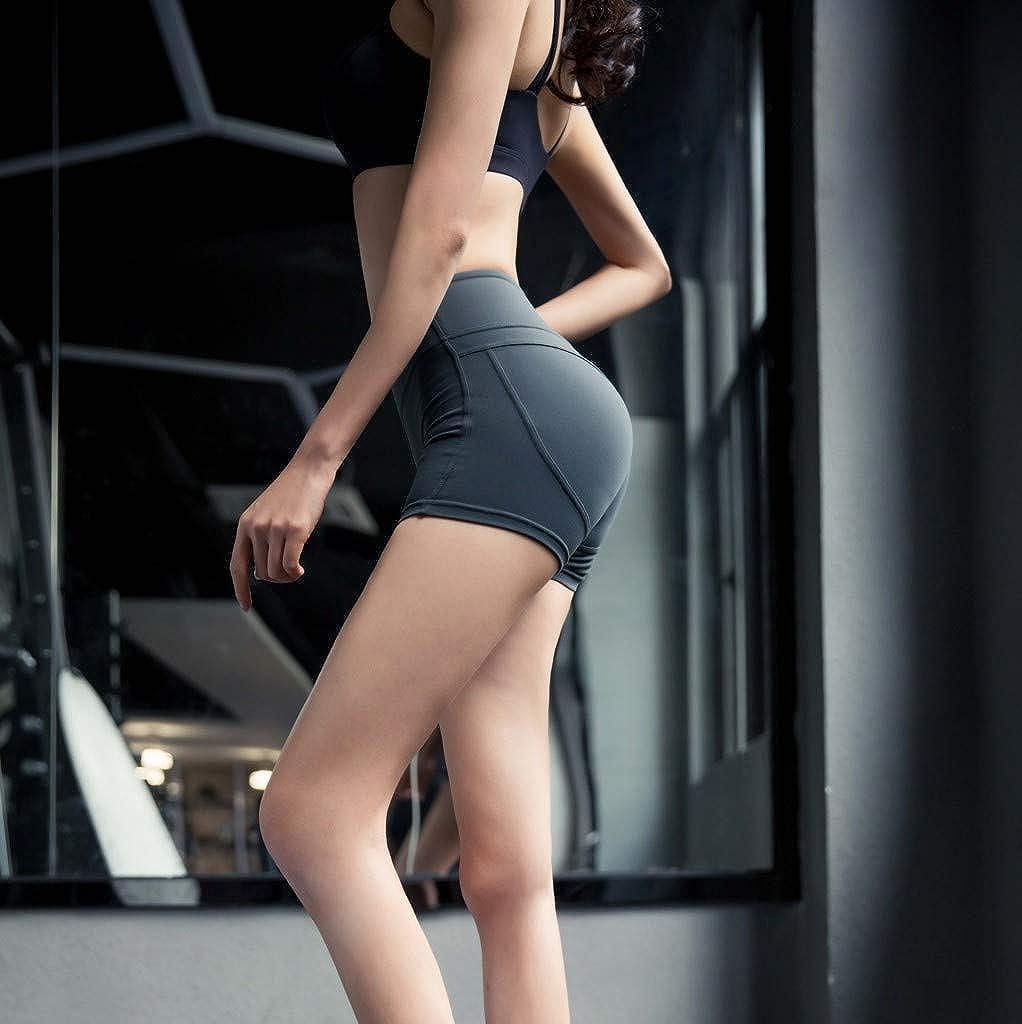 RUIRUILICO Yoga Shorts Ladies,Yoga Shorts High Waisted,Stitching Breathable Slim Hip-Tightening Fitness Running Shorts