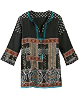 Women's Tunic Top - Mila Ethnic Black Embroidered Blouse
