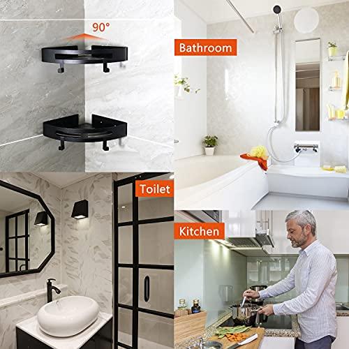 Shower Caddy Corner Bathroom Shelf - 2 Pack, Soap Holder, Wall Mounted Storage Organizer for Kitchen, Toilet, Dorm, with 4 Hooks