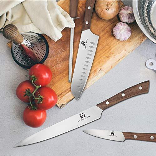 Vestaware Knife Set, 16-Piece Chef Knife Set with Wooden Block, StainlessSteel Kitchen Knives Set with Knife Sharpener, 6 Steak Knives and BonusScissors by Vestaware (Image #4)