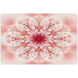 Lunarable Pale Pink Pet Mat for Food and Water, Kaleidoscopic Psychedelic Fractal Fantasy Lotus Mandala Inspired Digital Art, Rectangle Non-Slip Rubber Mat for Dogs and Cats, Multicolor