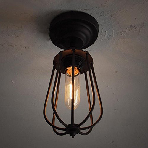 Industrial Bird Cage Style Ceiling Light, SUN RUN Creative Retro Light Fixture Chandeliers Vintage Metal Pendant Lamp with Painted Finish for Dining Room Kitchen by SUN RUN