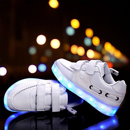 [Present:kleines Handtuch]JUNGLEST® Little Boy Mädchen Kind USB Lade LED leuchten Glow beiläufige Schuh Weiß