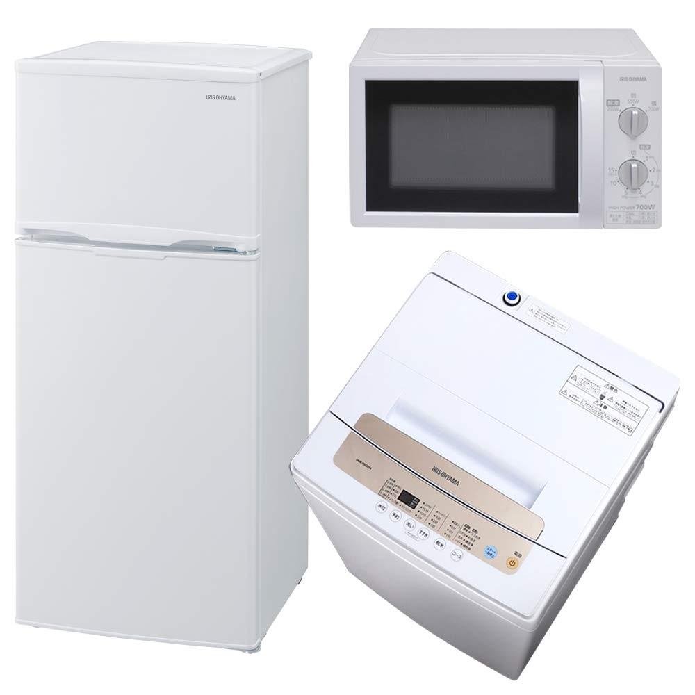 【セット販売】 アイリスオーヤマ 冷蔵庫 118L 2ドア 右開き ホワイト AF118-W + 全自動洗濯機 一人暮らし 5kg 簡易乾燥機能付き IAW-T502EN + 【東日本 50Hz専用】電子レンジ 17L ターンテーブル ホワイト IMB-T174-5   B07ND6T42X