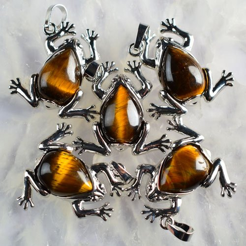 - A3887 5Pcs K-Gold plated Copper Yellow Tiger Eye Gem Frog Pendant Beads