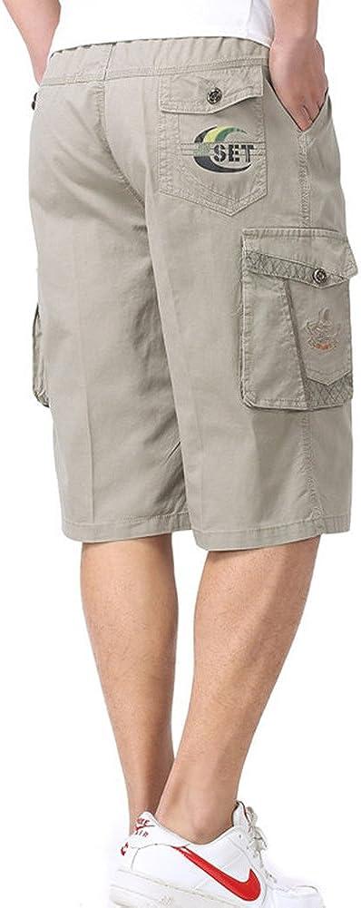 Insun Mens Solid Coton Lightweight Pockets Cargo Shorts