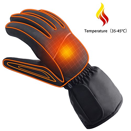 Autocastle Winter Warm Sports&Outdoors Electric Battery Heated Gloves for Men&Women (Black, - Battery Liners Glove Heated
