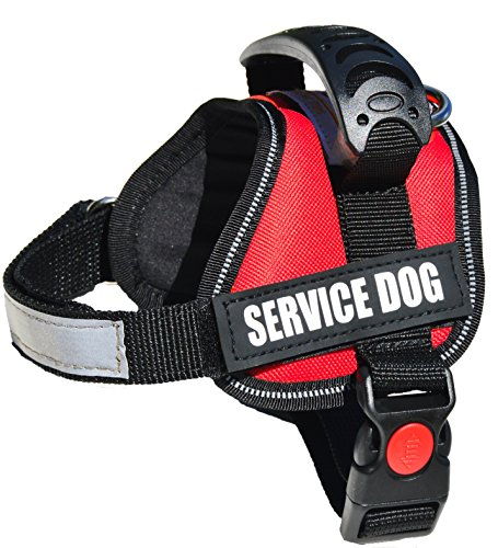 ALBCORP Reflective Service Dog Vest/Harness, Woven Polyester & Nylon, Comfy Soft Padding, EXTRA SMALL, RED