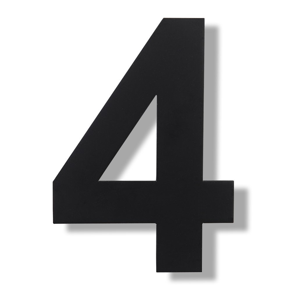 Mellewell Floating House Numbers Black, Super Large 12 Inch, Stainless Steel 18-8, Number 4 Four, HN12B-4