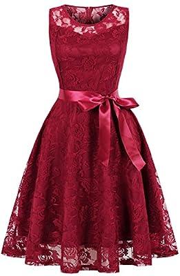 Womens Cocktail Party Swing Dress Floral Lace A Line Short Bridesmaid Dress C74