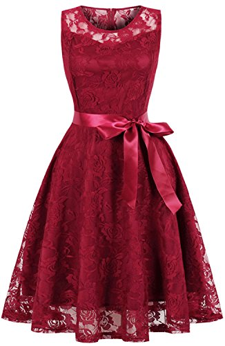 Short Pleated Dress - Womens Short Bridesmaid Dress Floral Lace a Line Cocktail Party Gown C74 (Wine red, M)