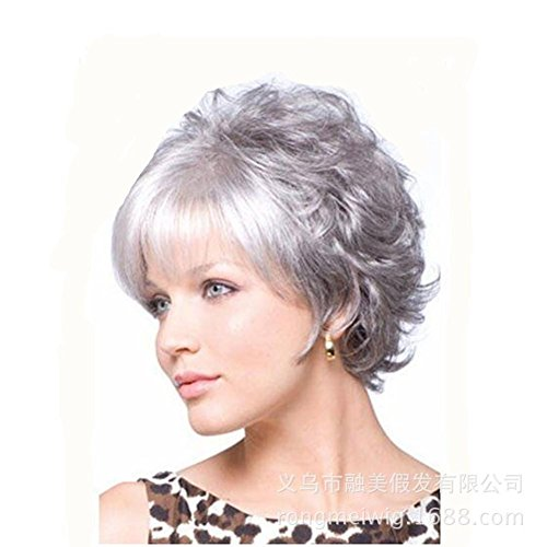2017 Trendy Female Fluffy Curly Fashion Hairstyles Silver Short Curly Full Wigs