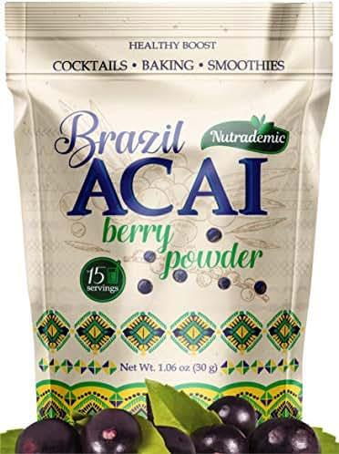 Brazil Acai Powder Natural Energy Boost Smoothie Powder, 30g Reusable Fresh Seal Packet   Vegan Sugar Free Superfood Antioxidant Booster Blend for Shakes, Baking, Mixing Drinks - 15 Servings