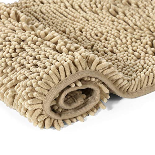 H.VERSAILTEX Bath Mat Super Soft Bath Rug for Bathrooms Microfiber Chenille Plush Rugs for Powder Room Indoor Rugs for Entryway, 17 x 24 Inches, Beige (Room Essentials Bath Rug)