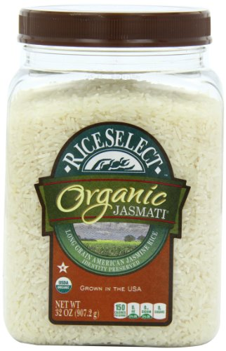 RiceSelect Organic Jasmati Rice, 32-Ounce Jars (Pack of 4)