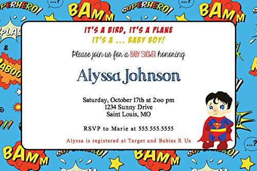 Customized Super Hero Baby Shower Invitation ()