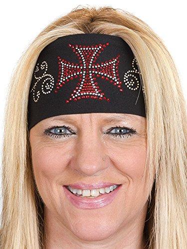 Open Road Girl Hair Bandana: Wide Headbands for Women: Biker Chick Head Wrap: Biker Cross ()