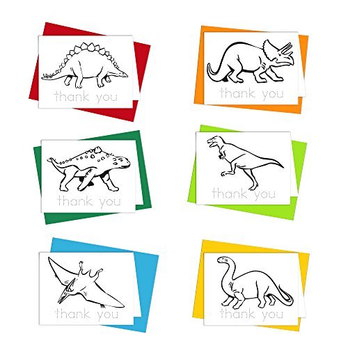 Thank You Cards - Dinosaur Cards Thank You Notes for Kids to Color, Trace Letters and Practice Writing - Eco-friendly Stationery for Children - 100% Recycled Note Cards with Envelopes - Blank Inside